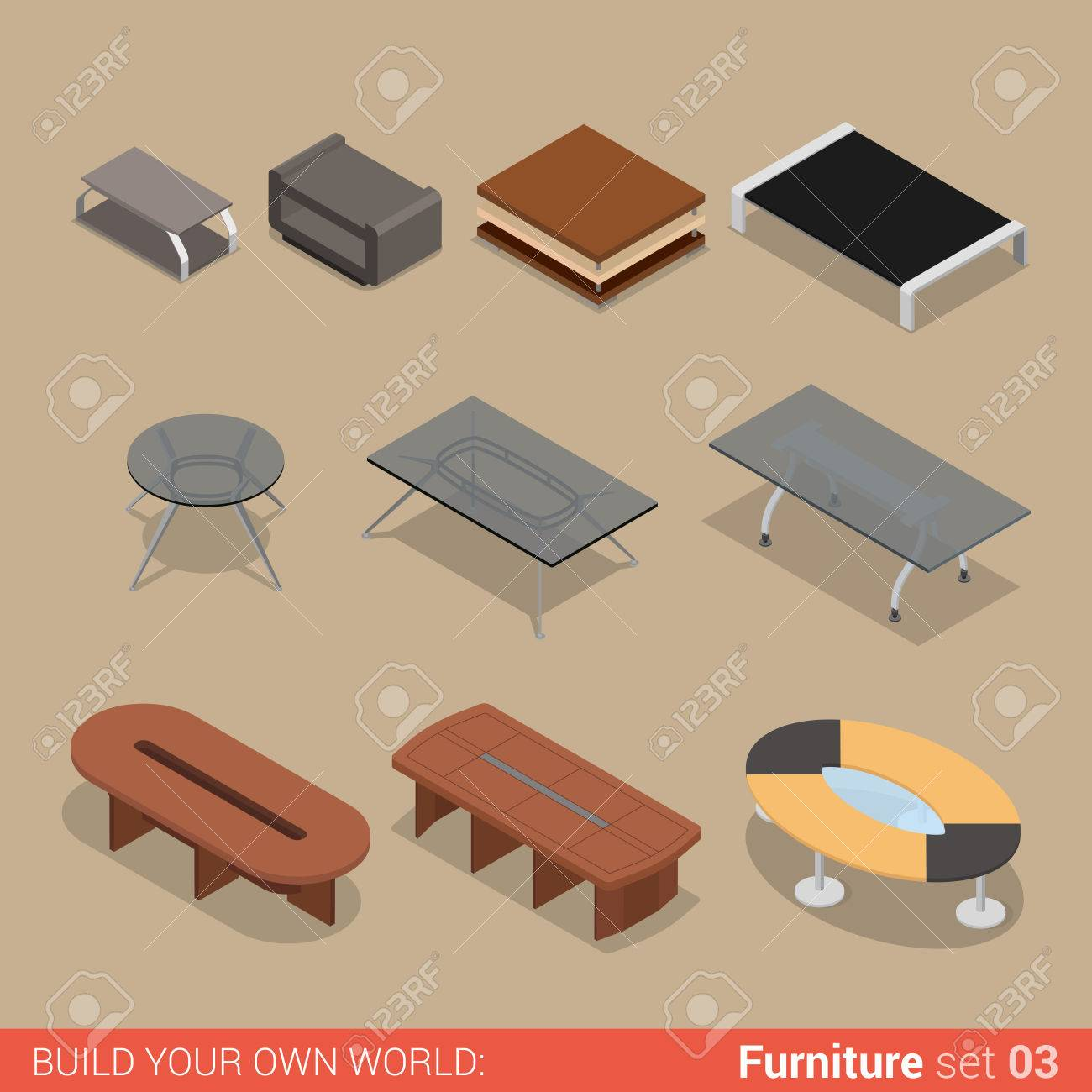 office furniture set 03 table living meeting room element flat 3d isometry isometric concept web infographics office vector collection29 vector