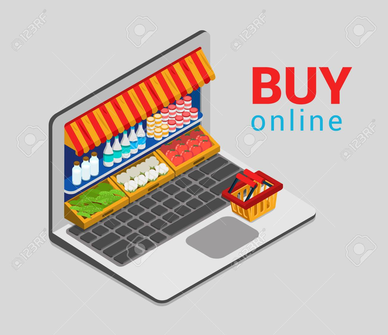 Laptop buy online grocery shopping e-commerce store flat 3d web isometric infographic concept vector electronic business sales. Shop cart market shop showcase product shelving shelf laptop screen. - 56931629