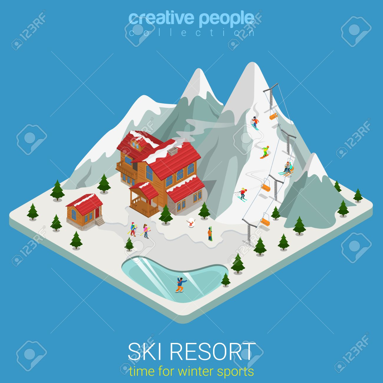 Flat 3d isometric style ski resort winter mountain sports travel concept web infographics vector illustration. Piece hilly land snowboard track ice lake. Creative people website conceptual collection. - 56931650