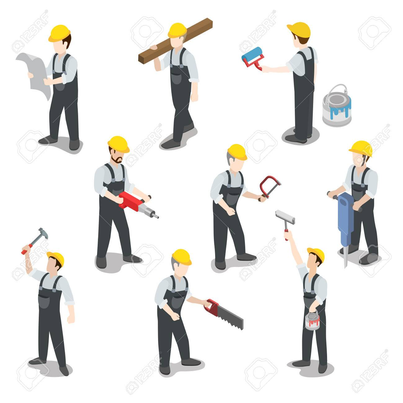 Flat 3d isometric builder construction worker icon set concept web infographics vector illustration. Carpenter painter driller architect foreman swamper. Creative people collection. Stock Vector - 56931651