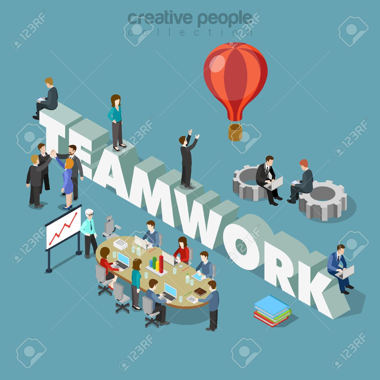 Flat 3d isometric style teamwork concept web infographics vector illustration. Businessmen at meeting table cogwheels and big teamwork word. Creative people collection. Stock Vector - 56931654