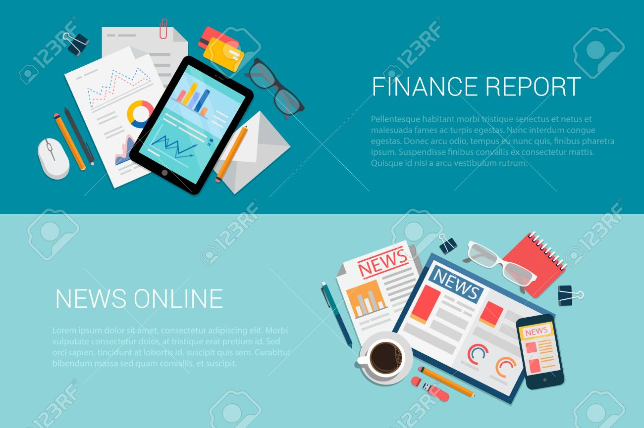 flat style set of web infographics banners icon collage finance