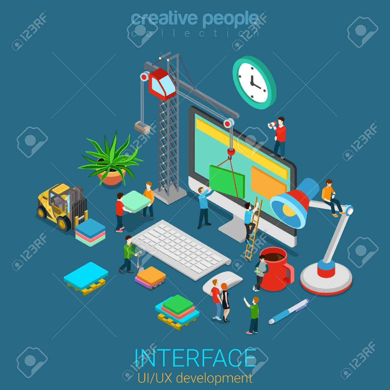 Flat 3d isometric mobile UI/UX GUI design web infographic concept vector. Crane people creating interface on computer. User interface experience usability mockup wireframe software development concept Stock Vector - 56931667