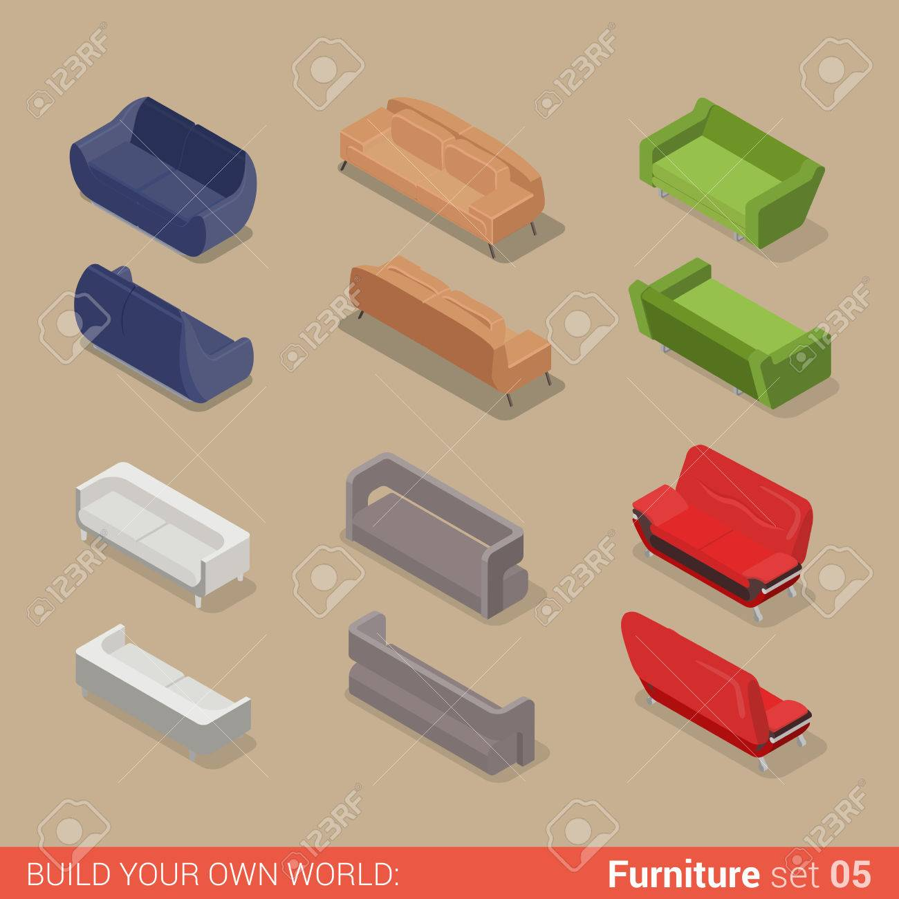 creative furniture icons set flat design. Office Furniture Set 05 Sofa Seat Couch Divan Lounge Element Flat 3d Isometry Isometric Concept Web Creative Icons Design T