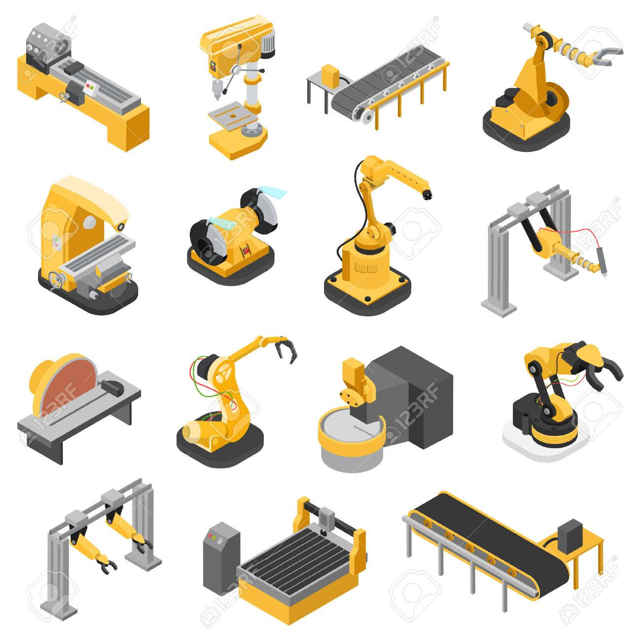 Flat 3d isometric heavy industry machinery icon set concept web infographics vector illustration. Woodworking power-saw ench jigsaw manipulator robot robotics robotized. Creative people collection. Stock Vector - 56931672