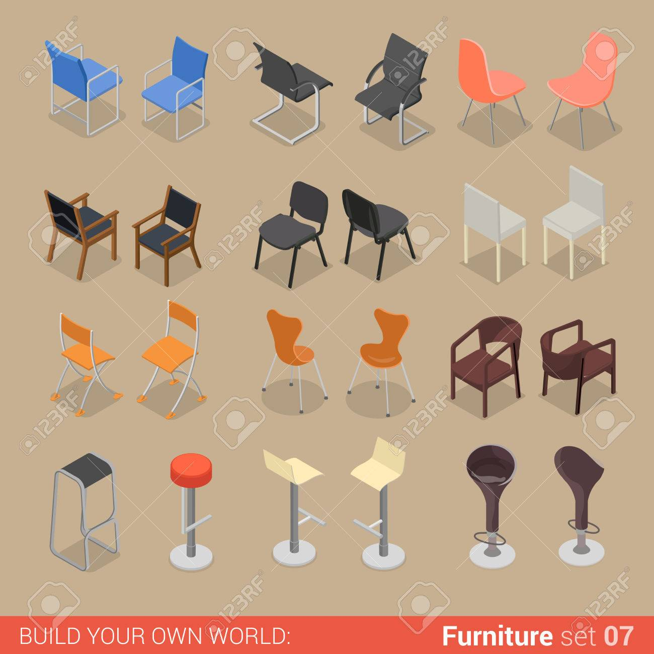 Office Home Bar Restaurant Furniture Set 07 Chair Seat Armchair
