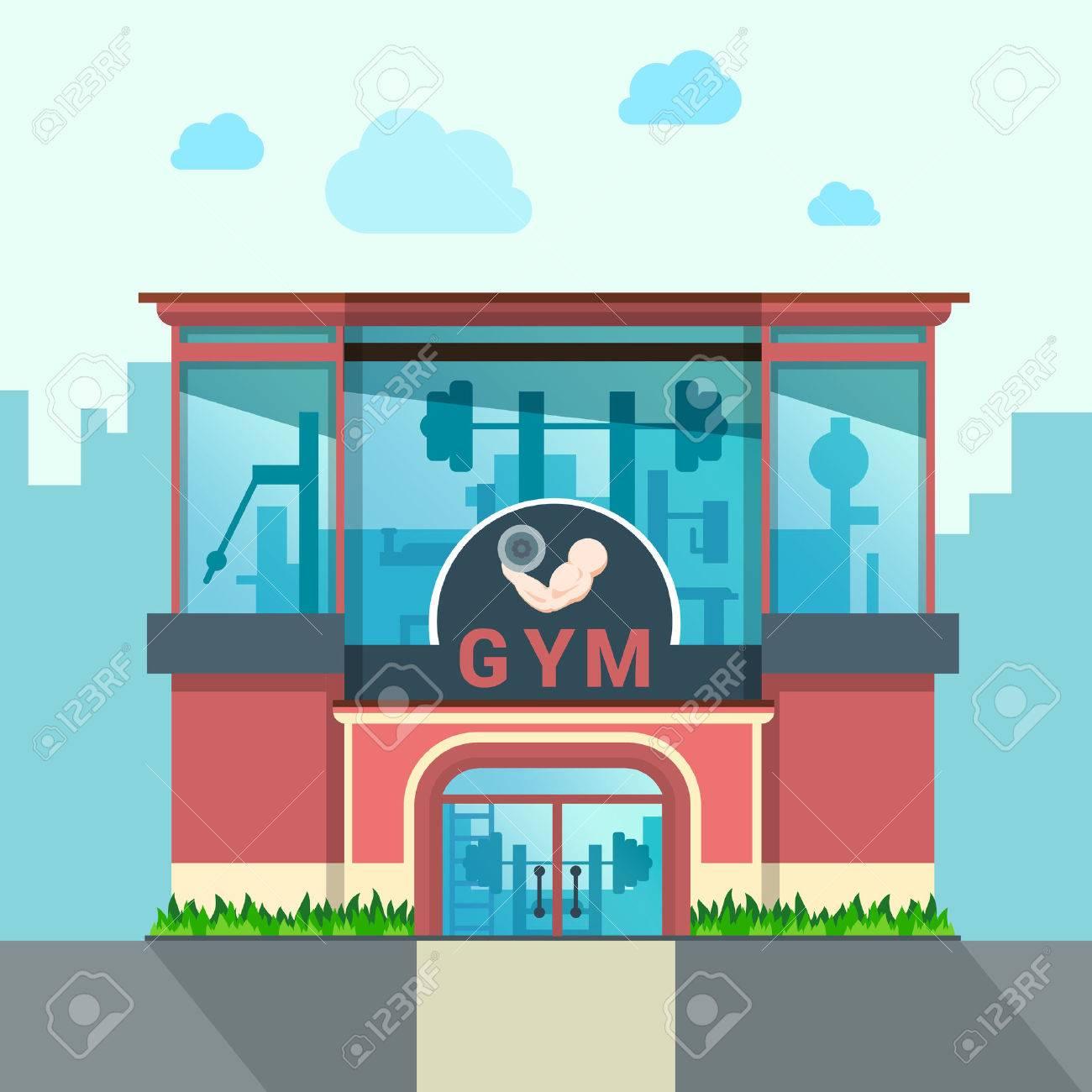 Gym building exterior outdoor front view facade showcase window concept. Flat style web site vector illustration. No people. Sports exercise conceptual. Stock Vector - 57398930