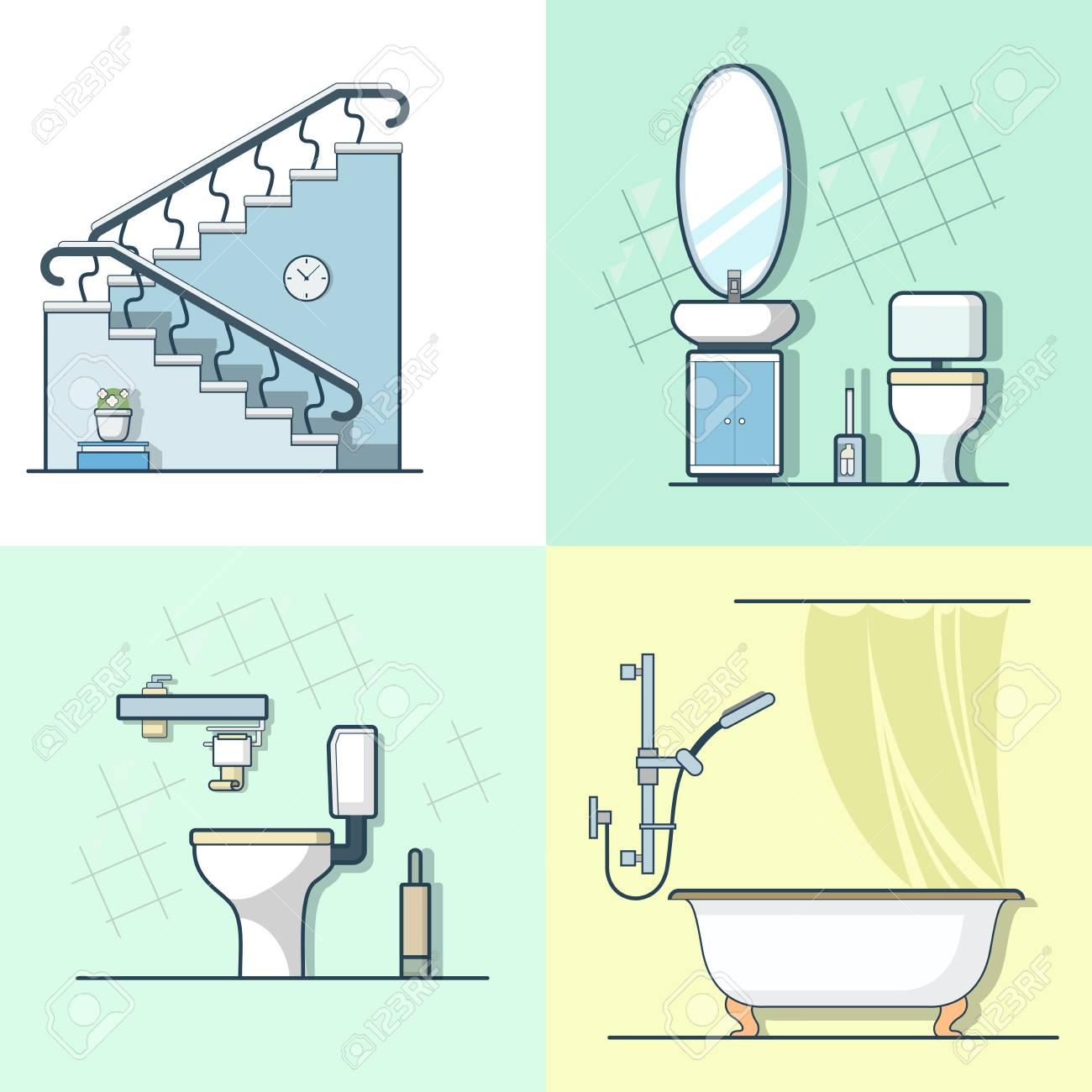 Badezimmer Toilette Leiter Interieur Innenelement Möbel Gesetzt. Linear  Schlaganfall Umriss Flach Stil Vektor Icons