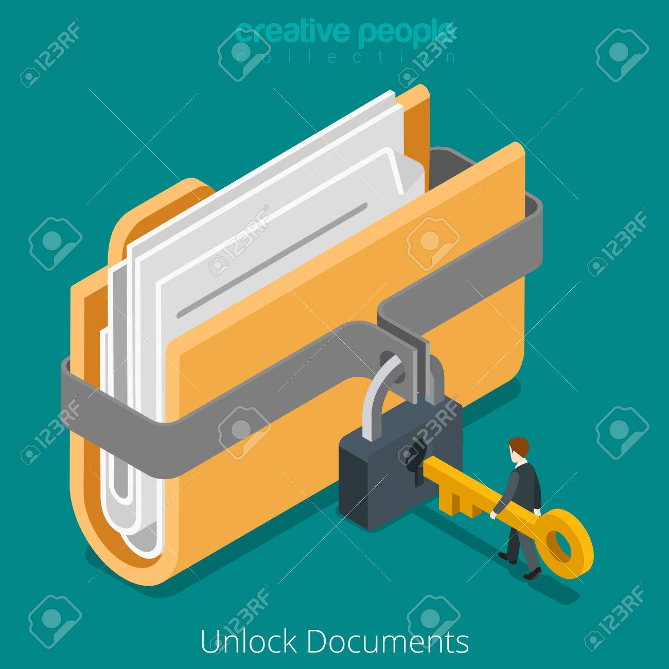Unlock folder secure data file document with lock key icon. Flat 3d isometry isometric web vector illustration. - 56931763