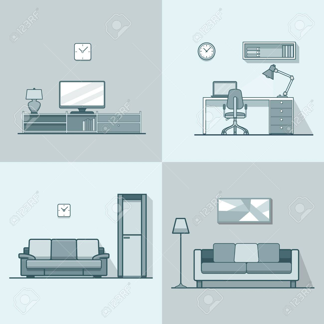 Condo Unterkunft Wohnzimmer Gemütlich Modernen Minimalismus Minimal  InterInnen Set. Linear Schlaganfall Umriss Flach Stil Vektor