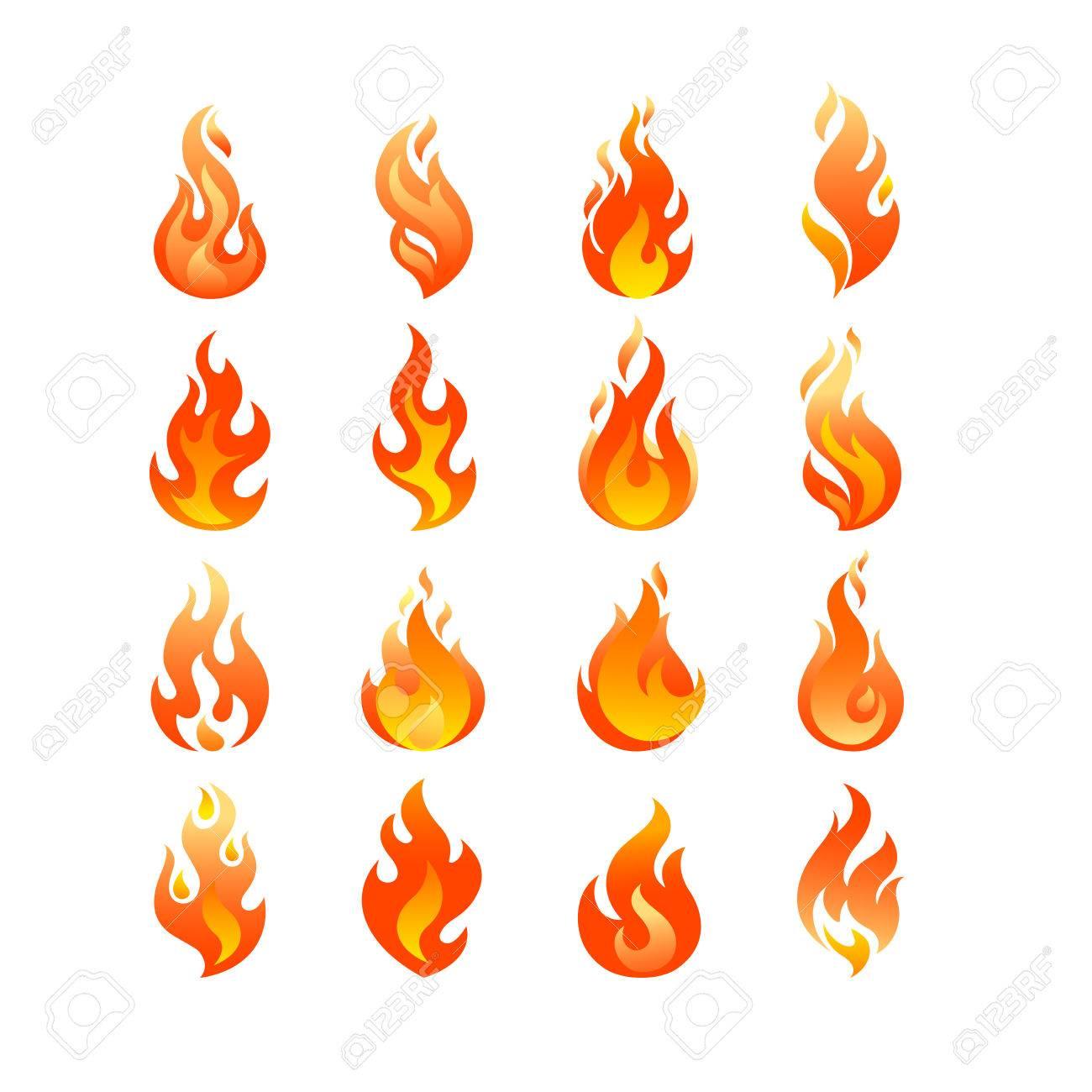 red burning fire flame set design vector template burn fireball
