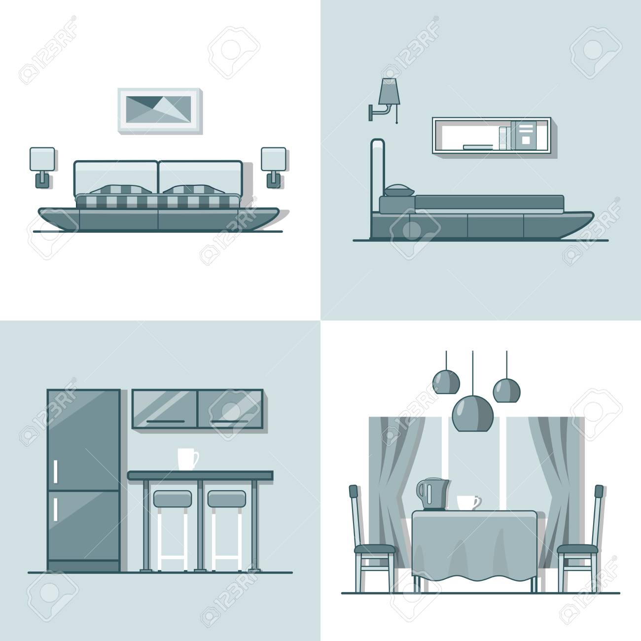 Bedroom kitchen living dining room interior indoor set. Linear monocolor stroke outline flat style vector icons. Color line art icon collection. - 57397926
