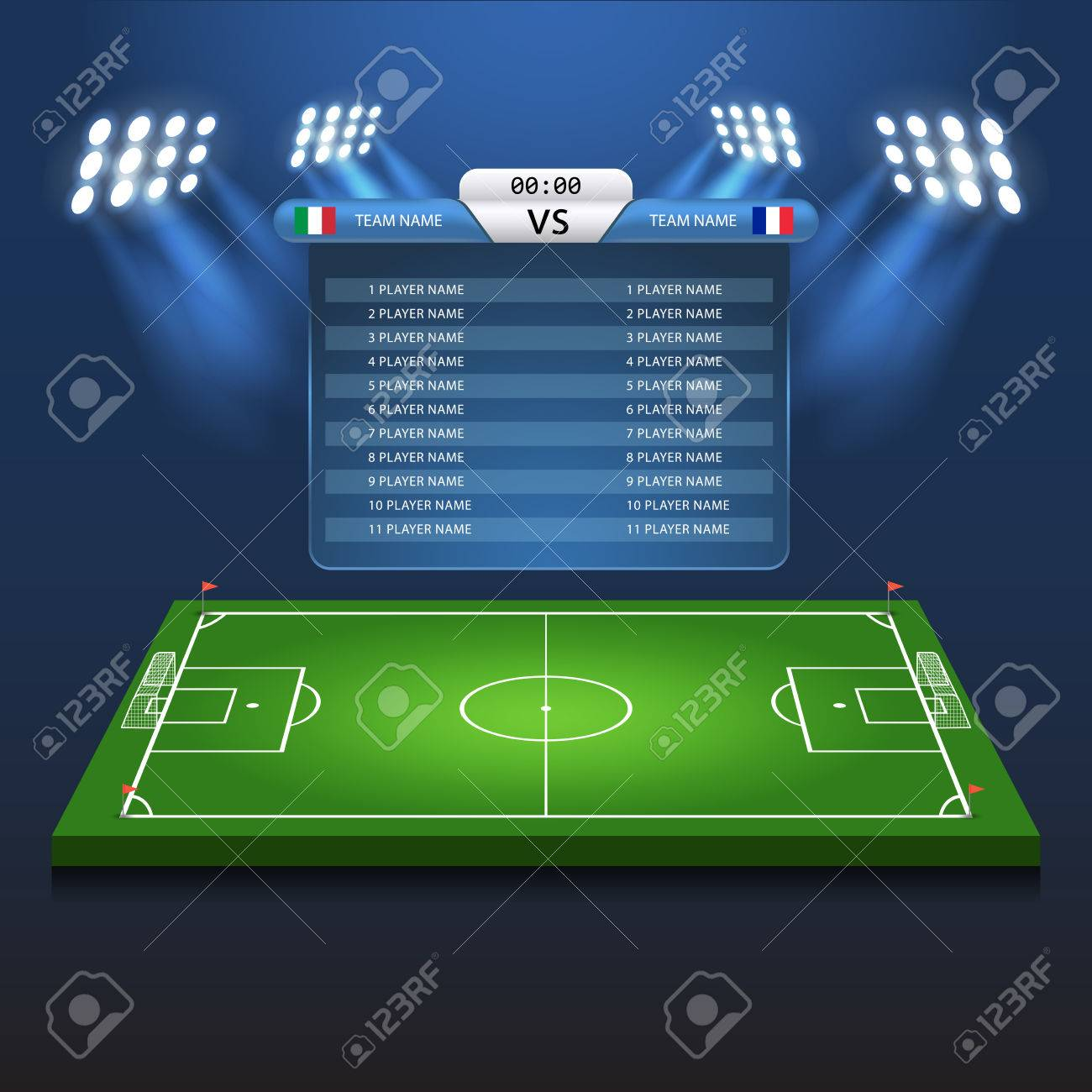 Soccer Football Scoreboard Matchboard Background Playground Stadium
