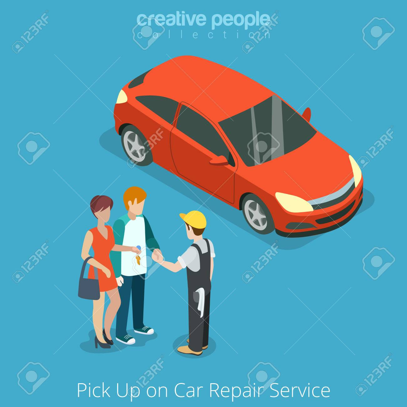 Pick Up Car From Repair Vehicle Service Concept. Serviceman Giving ...