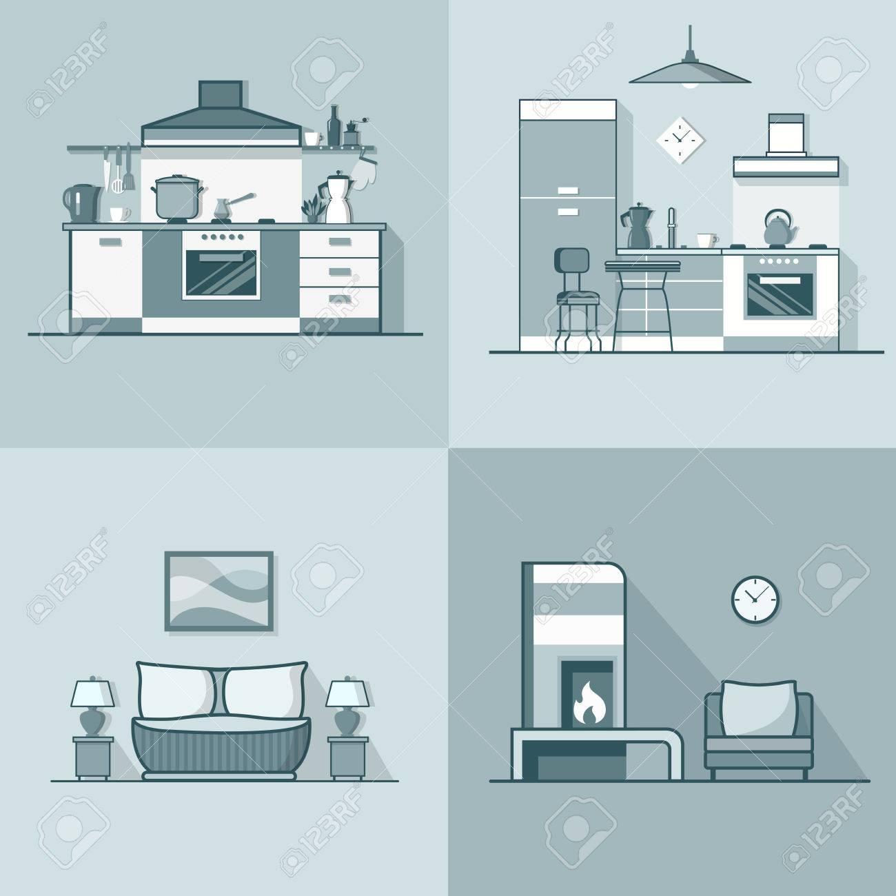 Condo Unterkunft Küche Schlafzimmer Wohnzimmer Innenraum Innen Set. Linear  Schlaganfall Umriss Flach Stil Vektor
