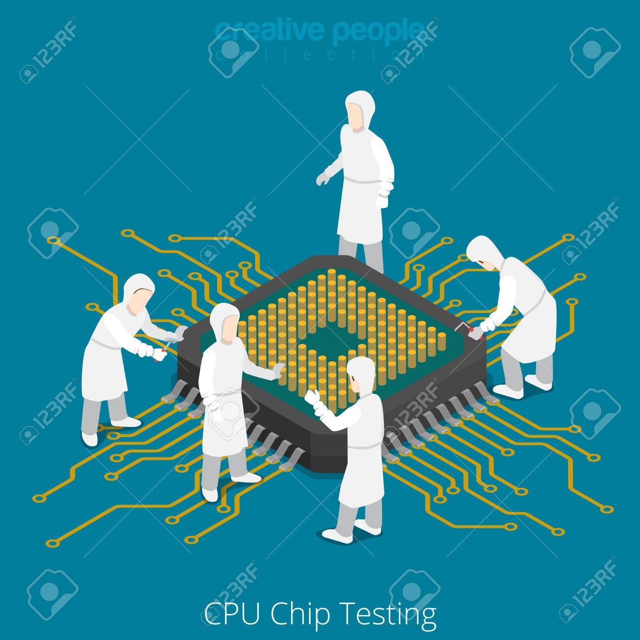 CPU chip socket testing repair service. Serviceman checkup soldering computer component. Flat 3d isometry isometric style web site app icon set concept vector illustration. Creative people collection. - 56931837