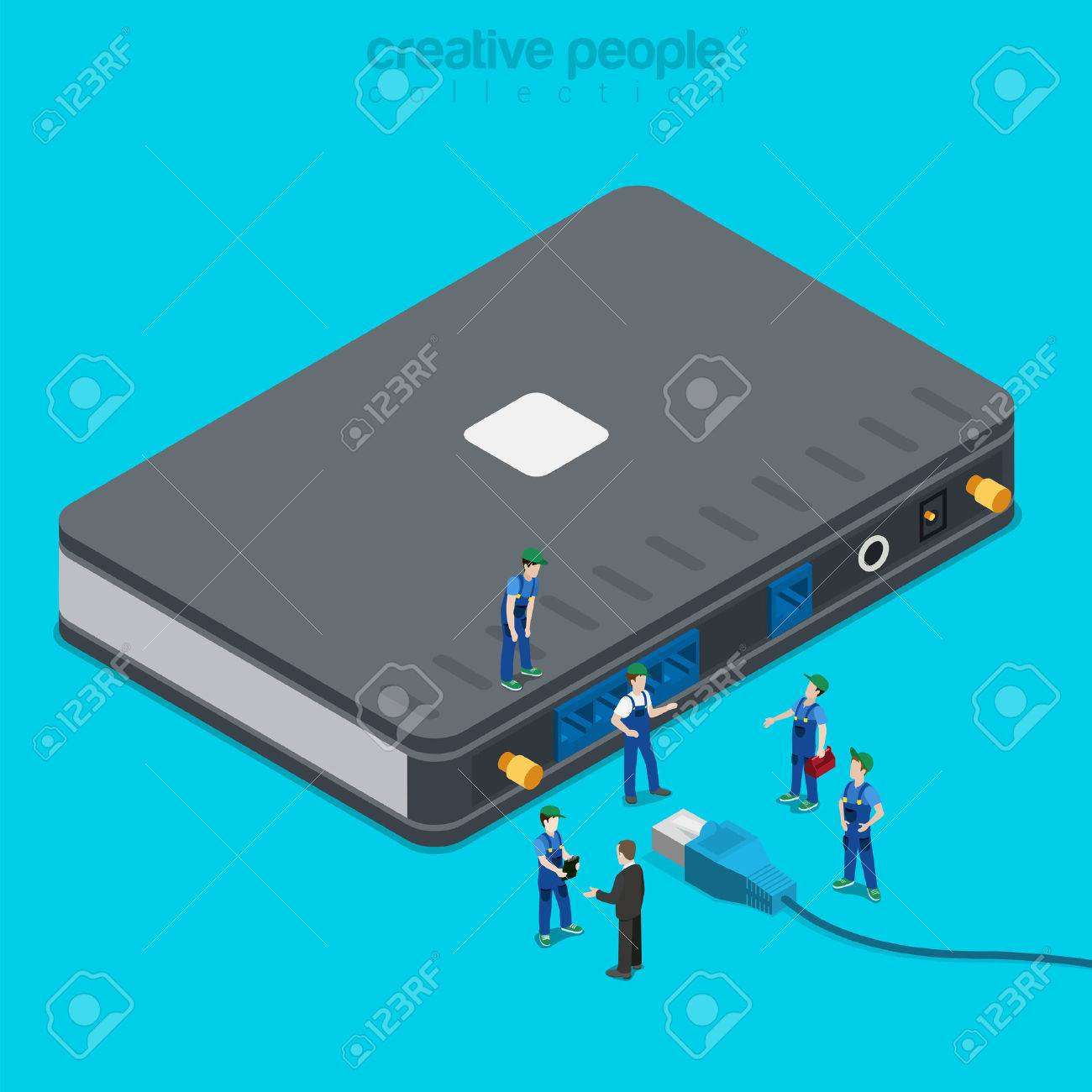 Internet Service Connection Supply. Flat 3d Isometric Isometry ...