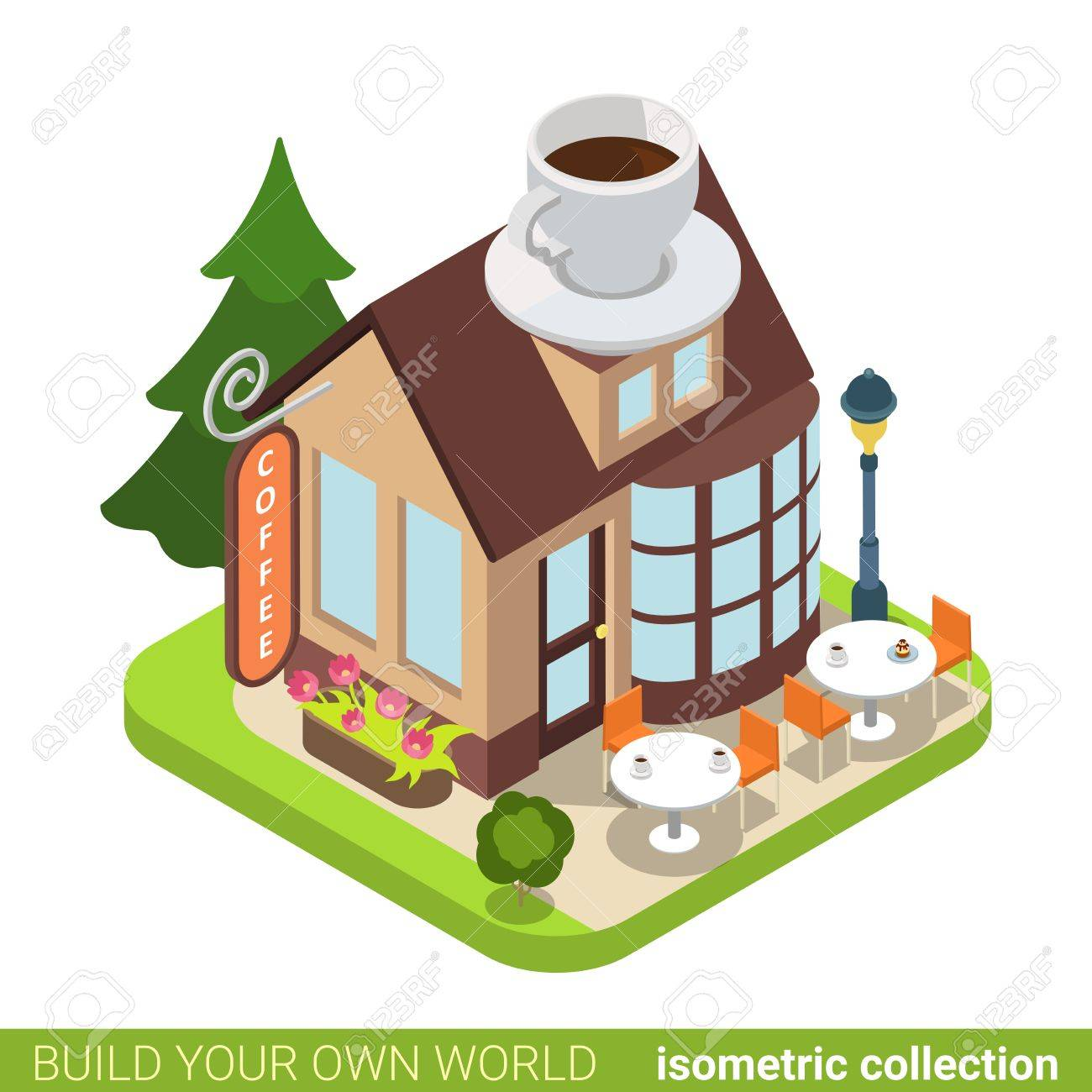 Building cartoon clipart restaurant building and restaurant building - Coffee Cafe Restaurant Building Realty Real Estate Concept Flat 3d Isometry Isometric Style Web Site