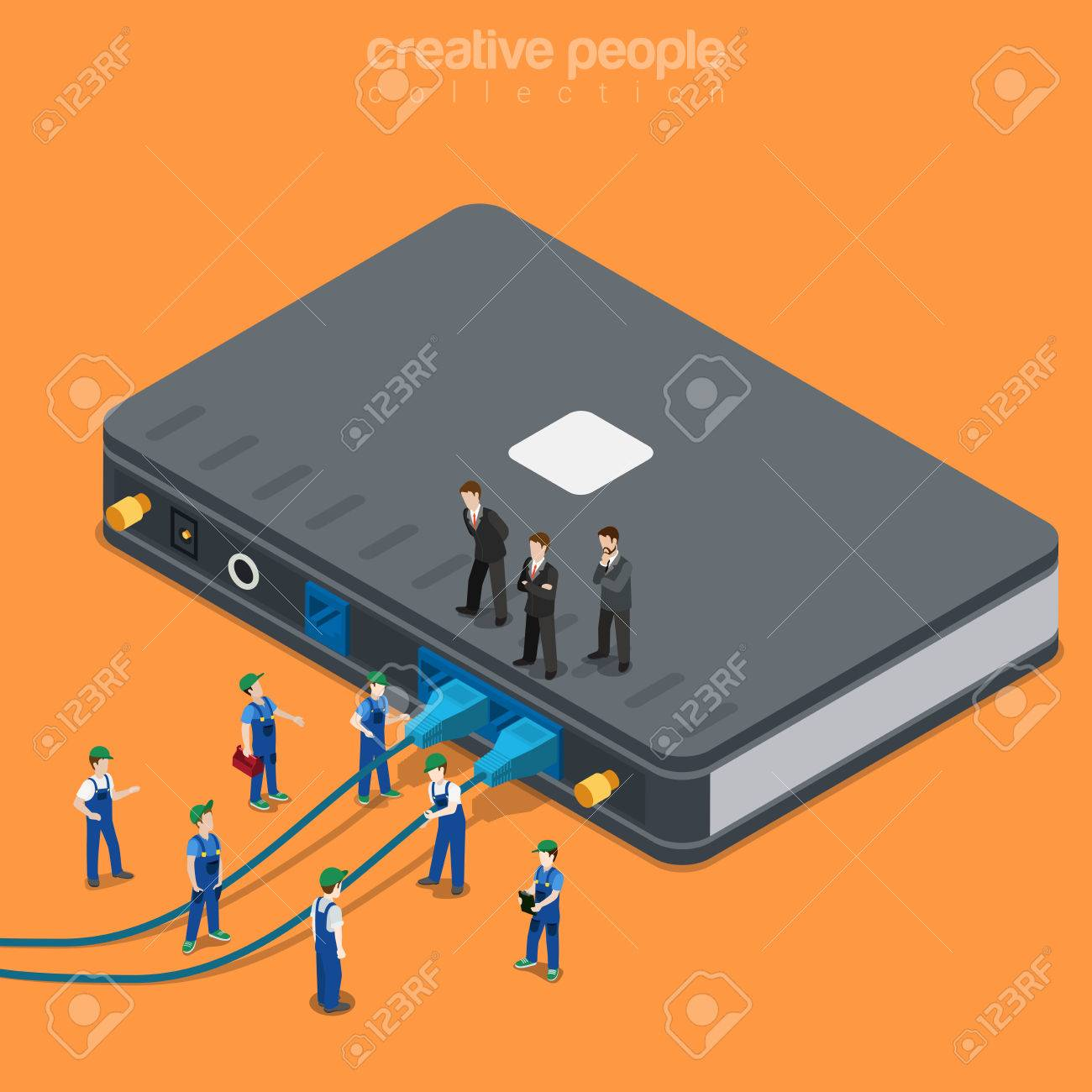 Internet Service Local Network Connection Supply. Flat 3d Isometric ...