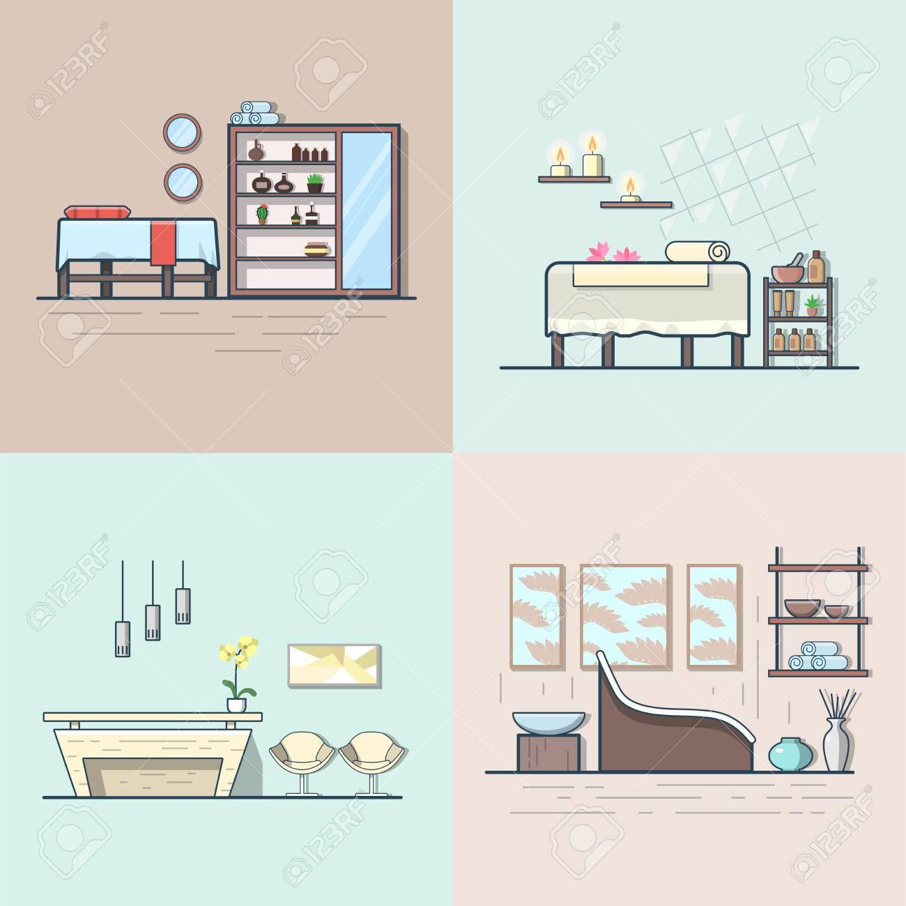 Spa Salon Schönheitssalon Zimmer Unter Innen Set. Linear Multicolor  Schlaganfall Umriss Flach Stil Vektor