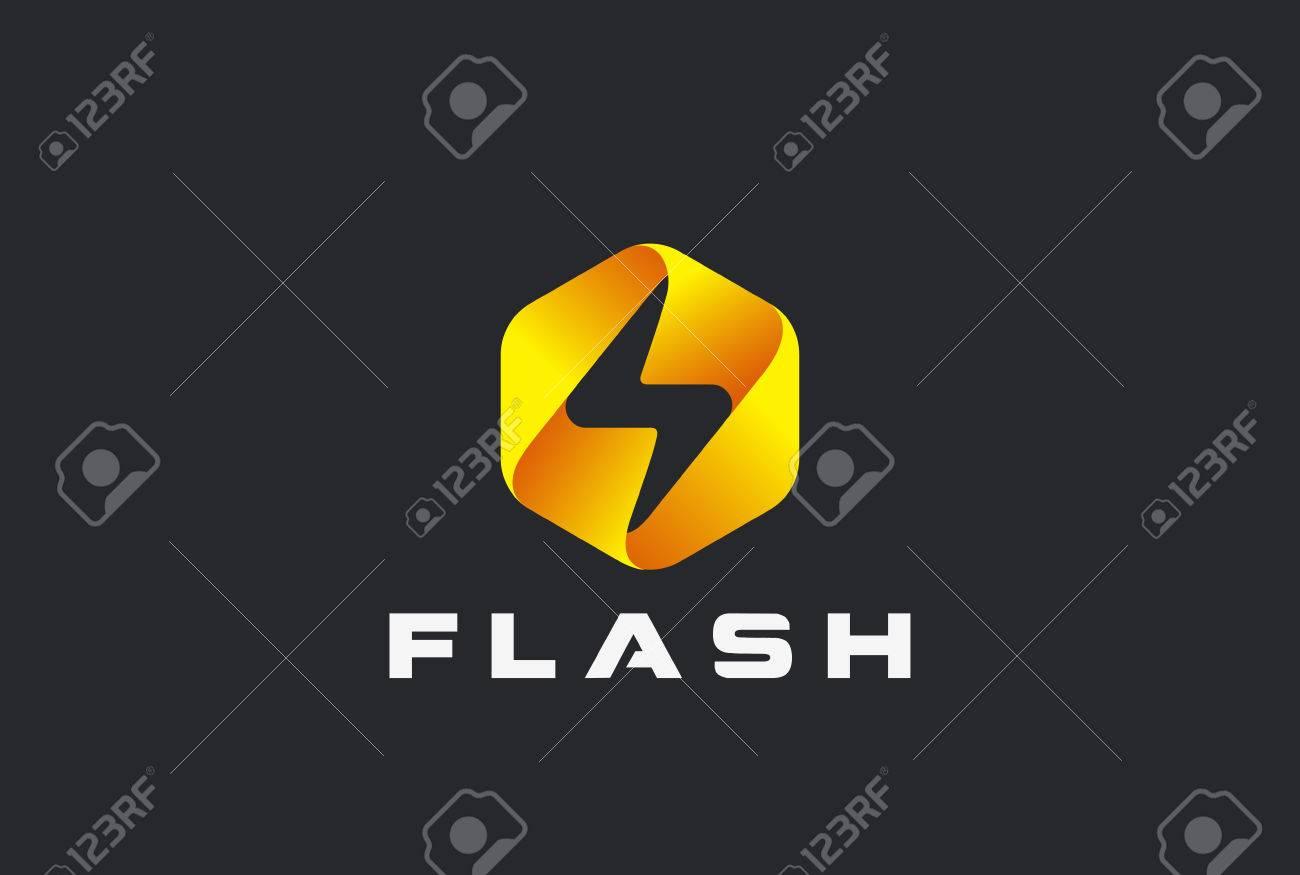 Flash logo abstract design vector template lighting bolt icon
