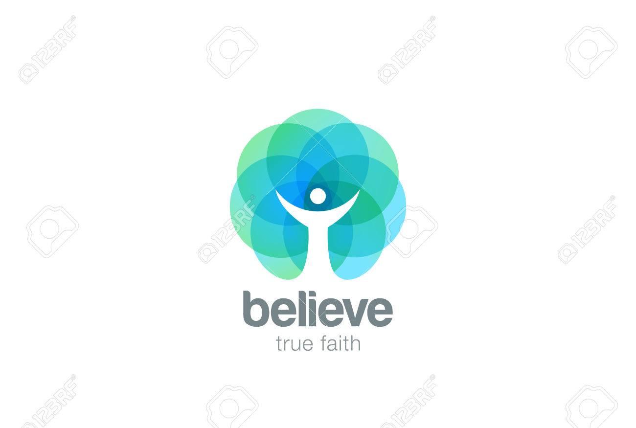 Church Faith Logo Pray Religion abstract design vector template. Religious Monk Belief Christian Logotype concept icon Negative space style - 58398942