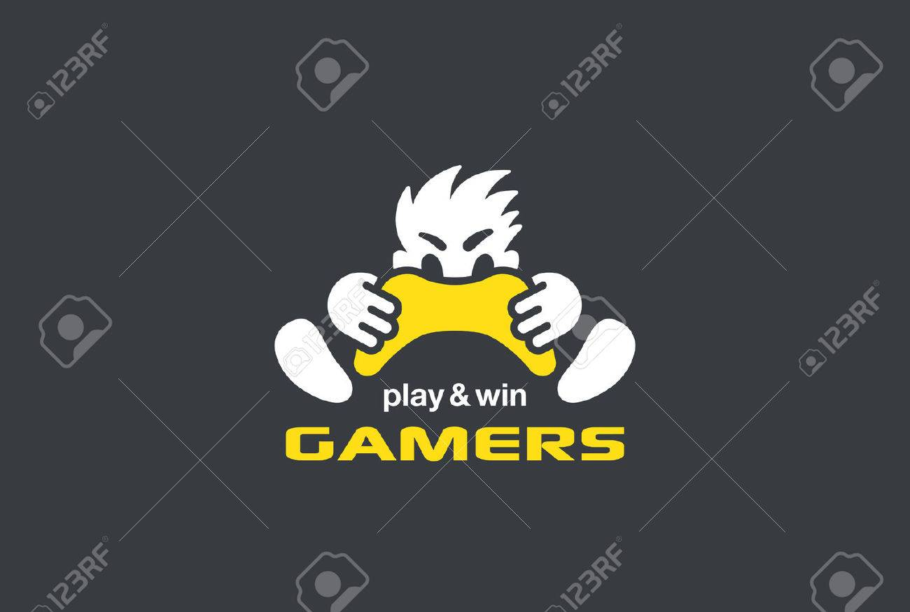 Player Gamer holding Game-pad Joystick Logo design vector template Negative space style. Play computer video Game with Passion Rage funny Logotype concept Stock Vector - 58398950
