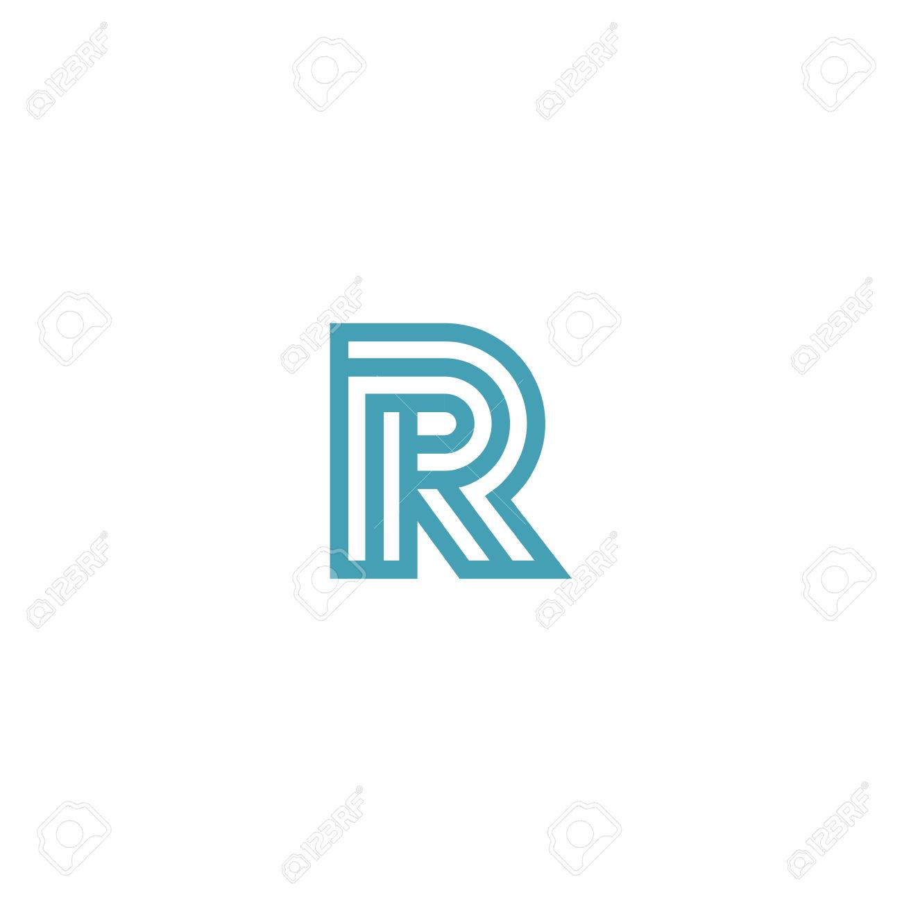 Impossible Letter R Logo Design Vector Template Linear Type