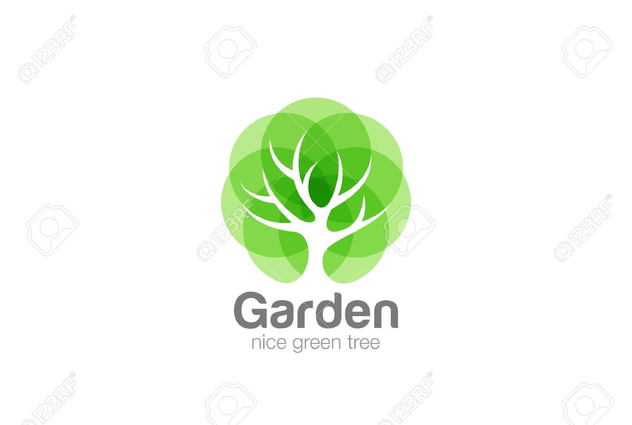 Tree Logo abstract design vector template Negative space style. Eco Green Organic Oak Plant Logotype concept icon Stock Vector - 58399070