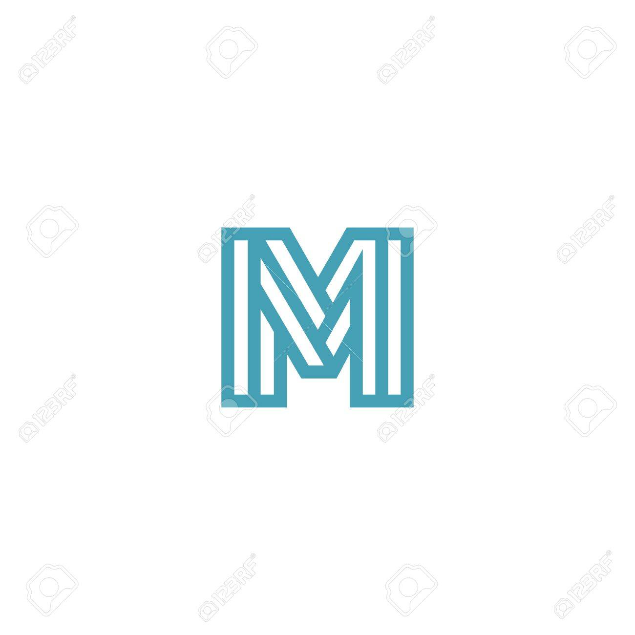 4a19758474f Impossible Letter M Logo design vector template Linear. Type Character  Symbol Monogram Logotype Labyrinth concept