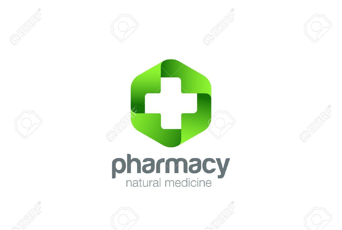Pharmacy Logo Medicine green cross abstract design vector template. Eco bio natural Medical clinic infinity loop Logotype concept icon - 58399091