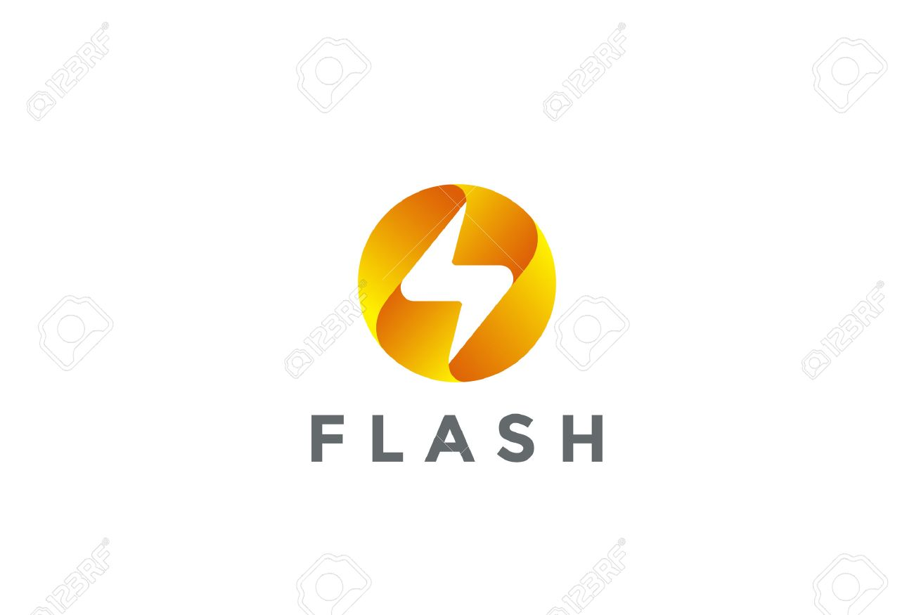 Flash logo circle abstract design vector template lighting bolt