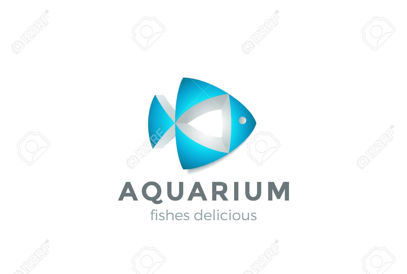 fish abstract geometric shape design vector template seafood