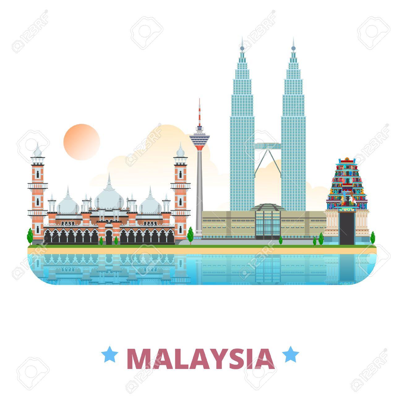 Malaysia country design template. Flat cartoon style historic sight web vector illustration. World travel Asia collection. Petronas Twin Sri Mahamariamman Hindu Temple Jamek Mosque Kuala Lumpur Tower. Stock Vector - 58835856