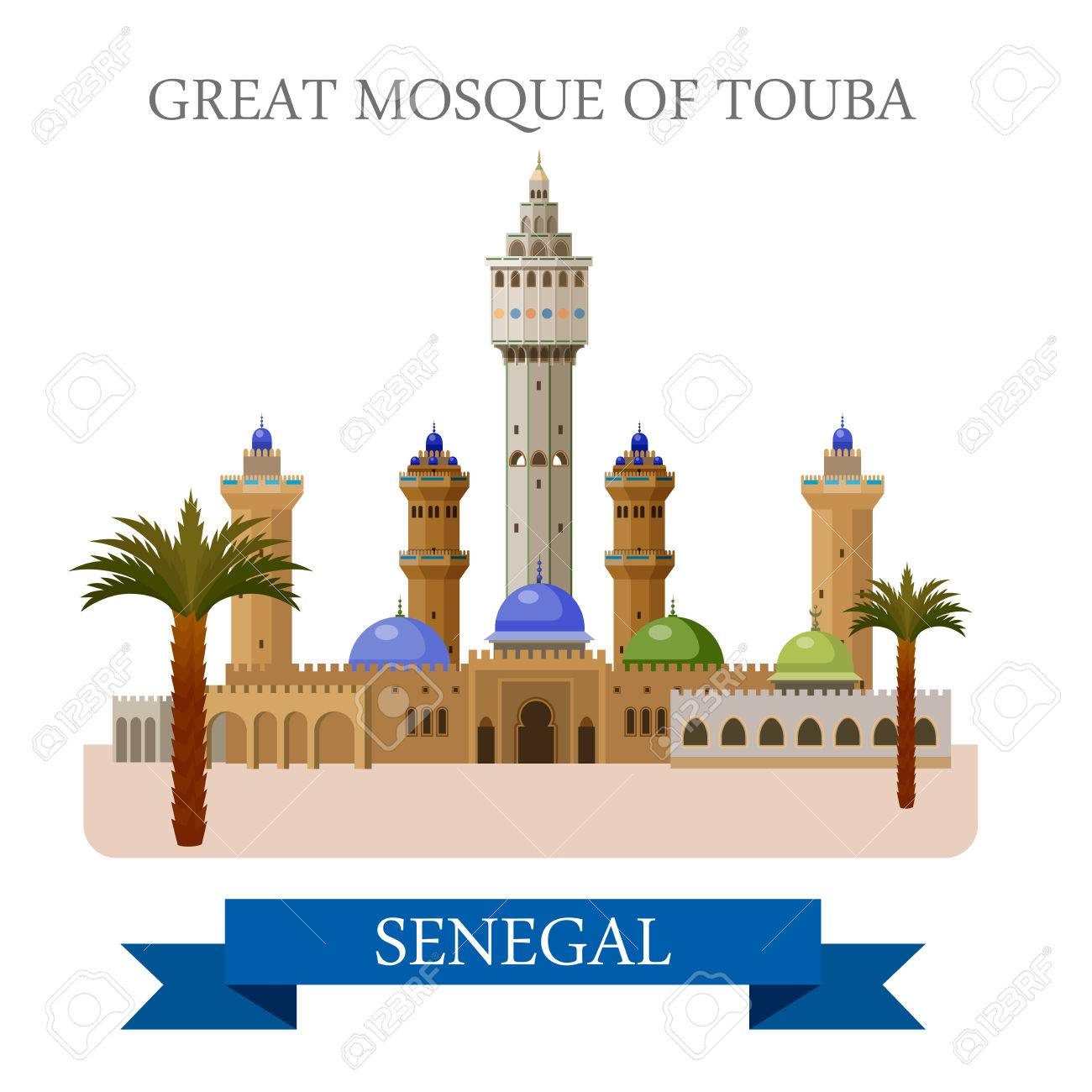 Great Mosque of Touba in Senegal  Flat cartoon style historic