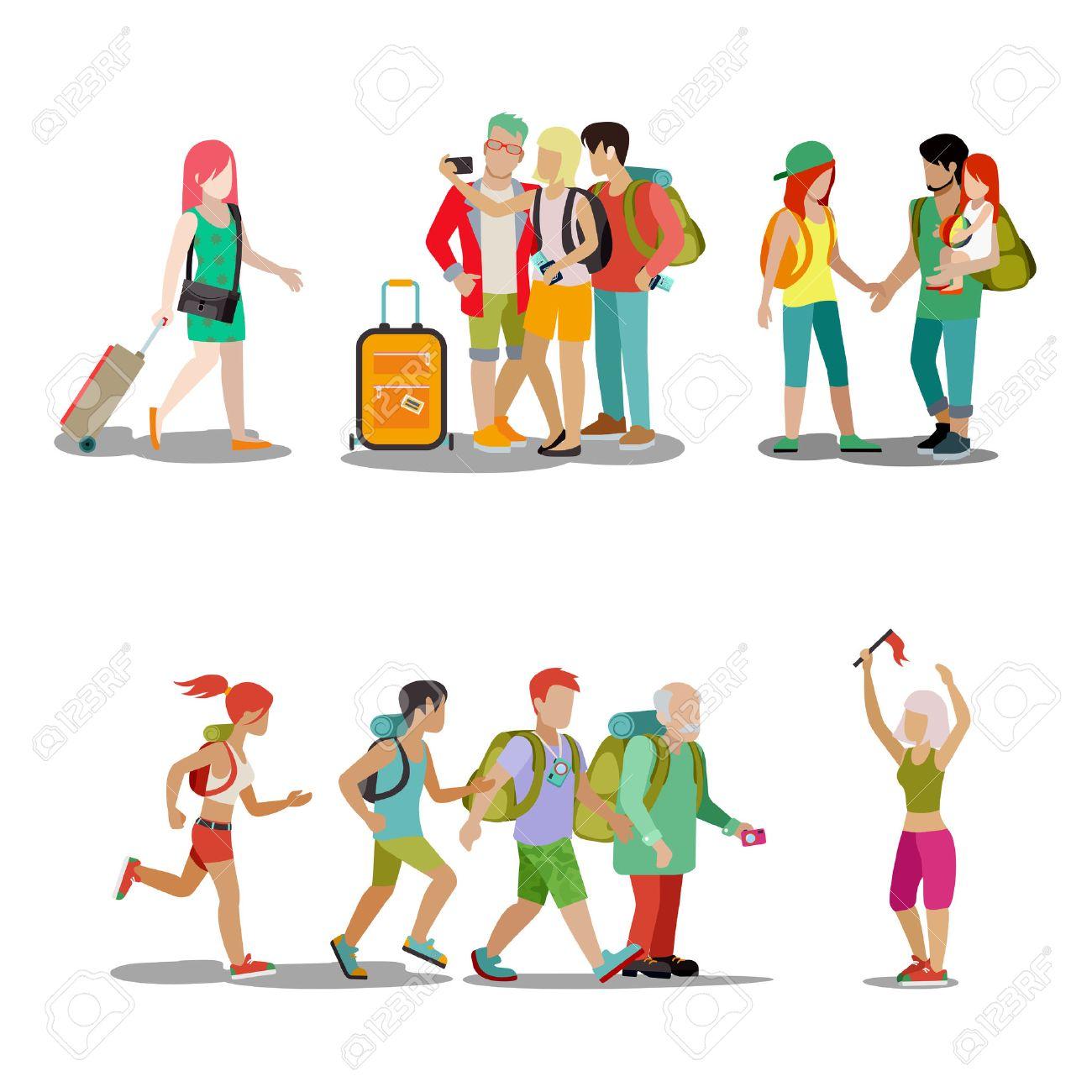 Conjunto Del Icono De La Gente De Vacaciones Familiares Hombre