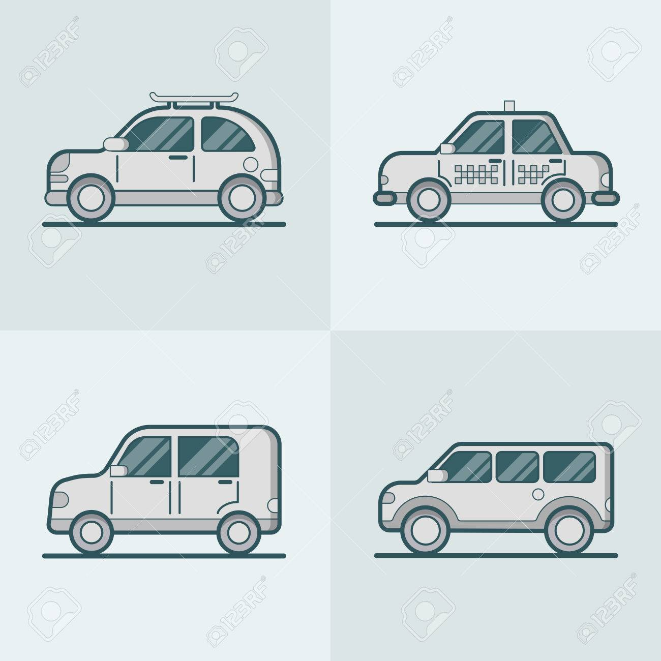 Passenger Car Van Suv Taxi Road Lineart Line Art Transport Set