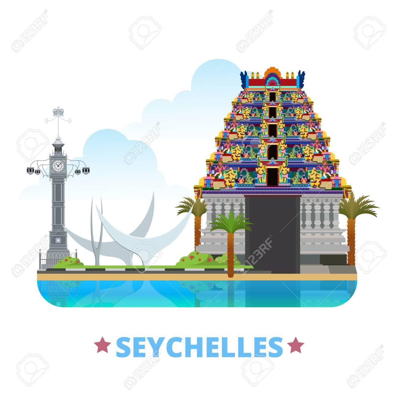 Plantilla De Diseño País Seychelles. Vista Histórico Ilustración ...