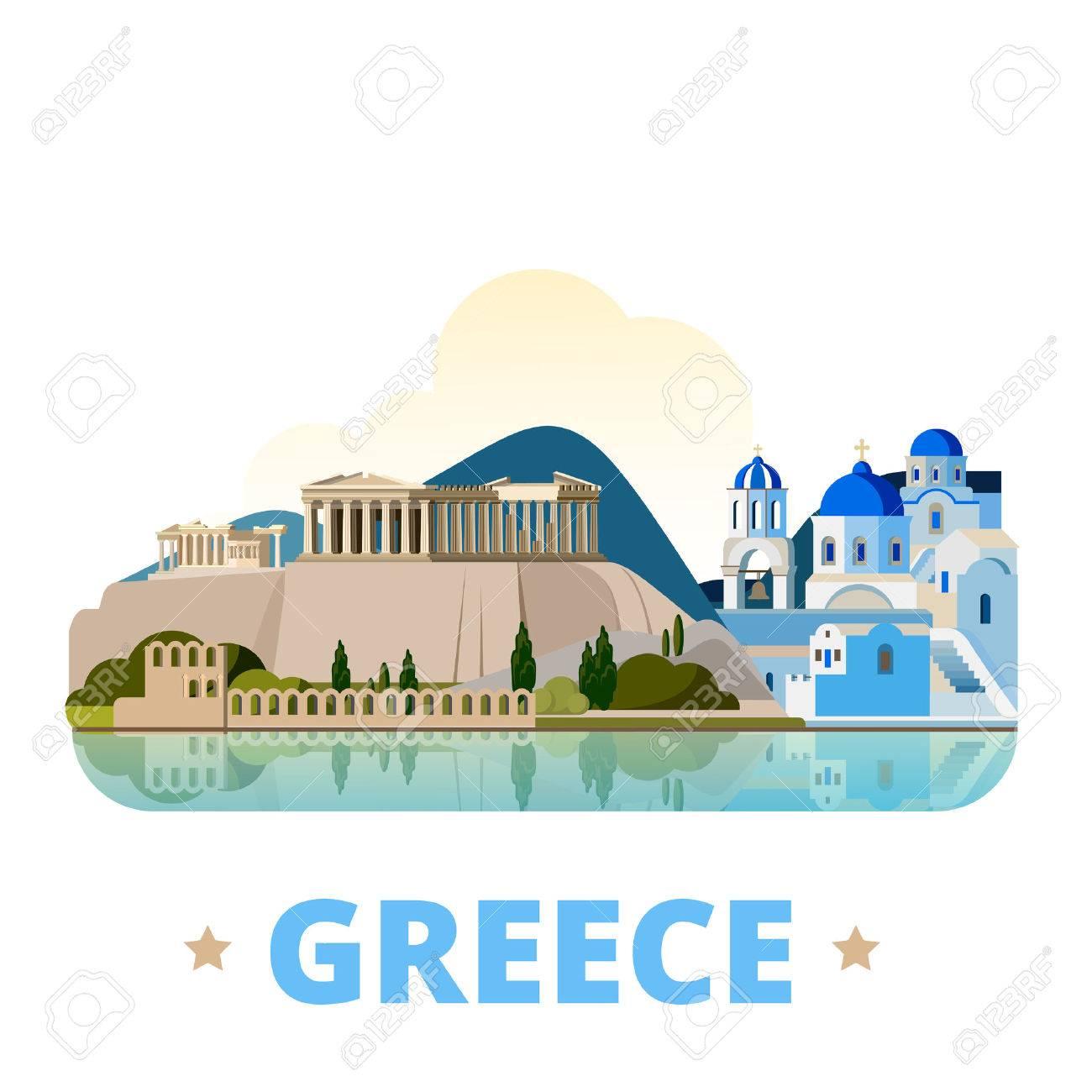 Greece country design template. Flat cartoon style historic sight showplace web vector illustration. World vacation travel Europe European collection. Santorini Aegean Sea Islands Acropolis of Athens - 58835946