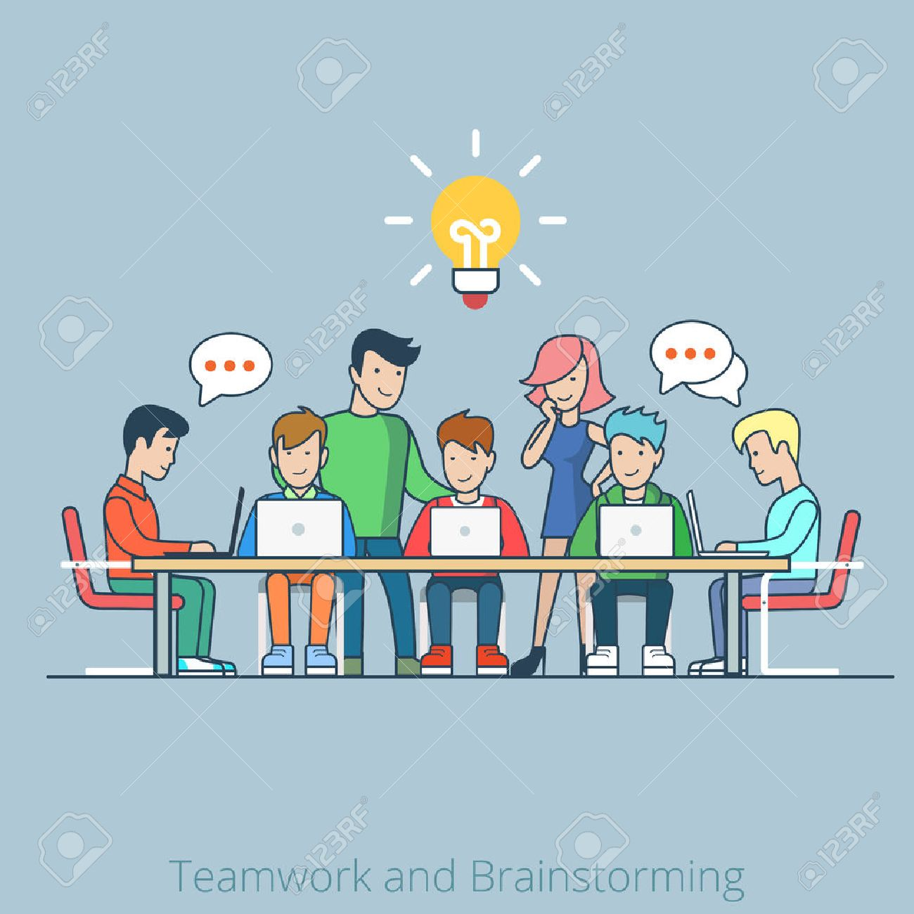 Linear line art flat style idea brainstorming creative team concept web infographics vector illustration. Cartoon people collection. Group of casual young male female working table icon. Stock Vector - 58836013