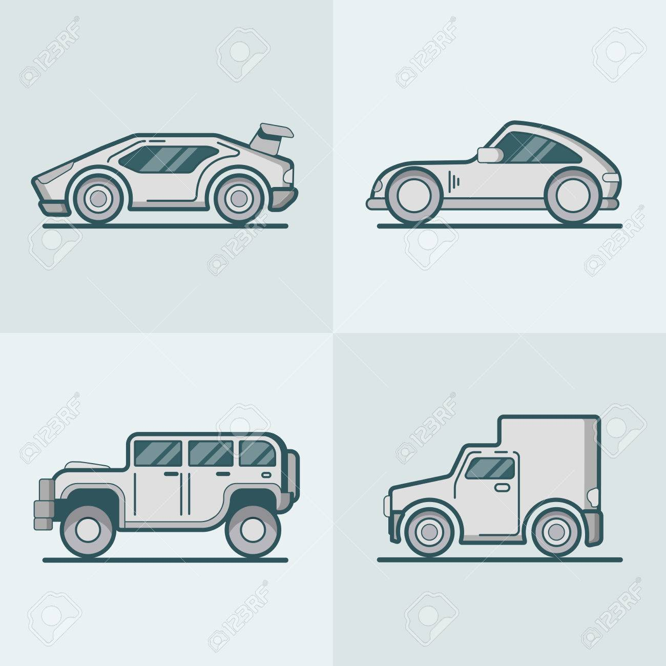 Sportscar Supercar Suv Van Lineart Line Art Road Transport Set