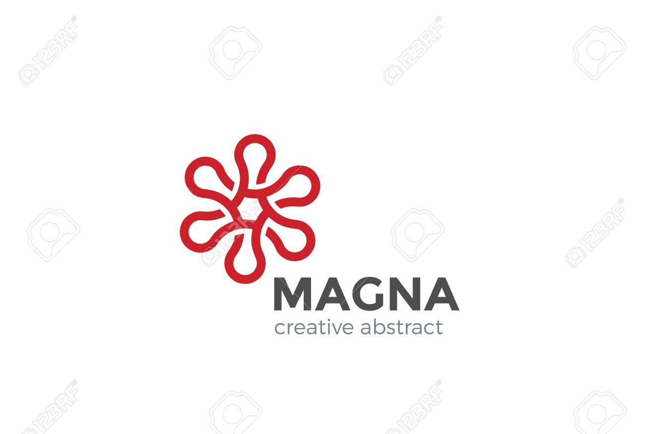 Flower Abstract Design Vector Template. Six Point Star Concept ...