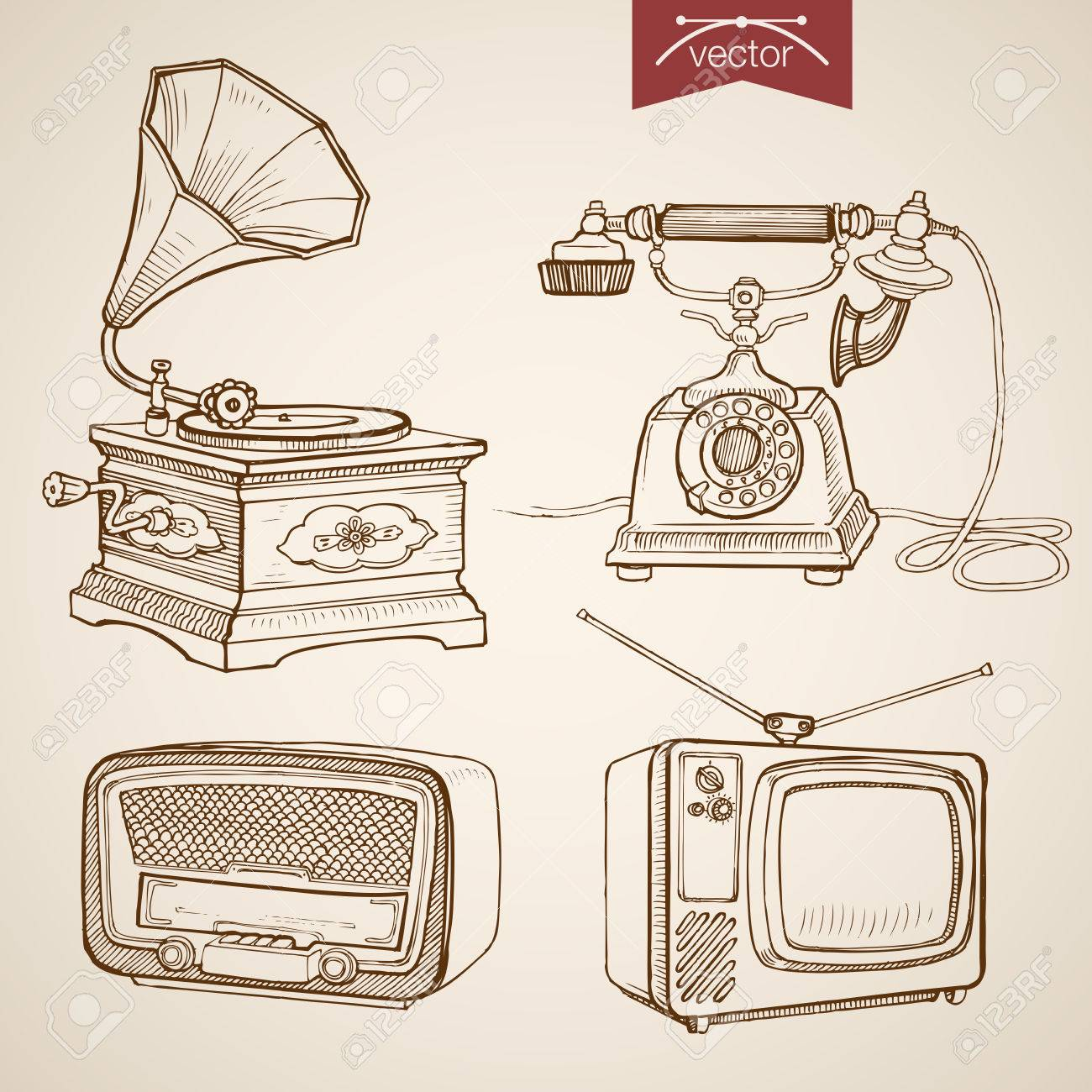 Engraving vintage hand drawn vector video music sound retro equipment collection pencil sketch phone