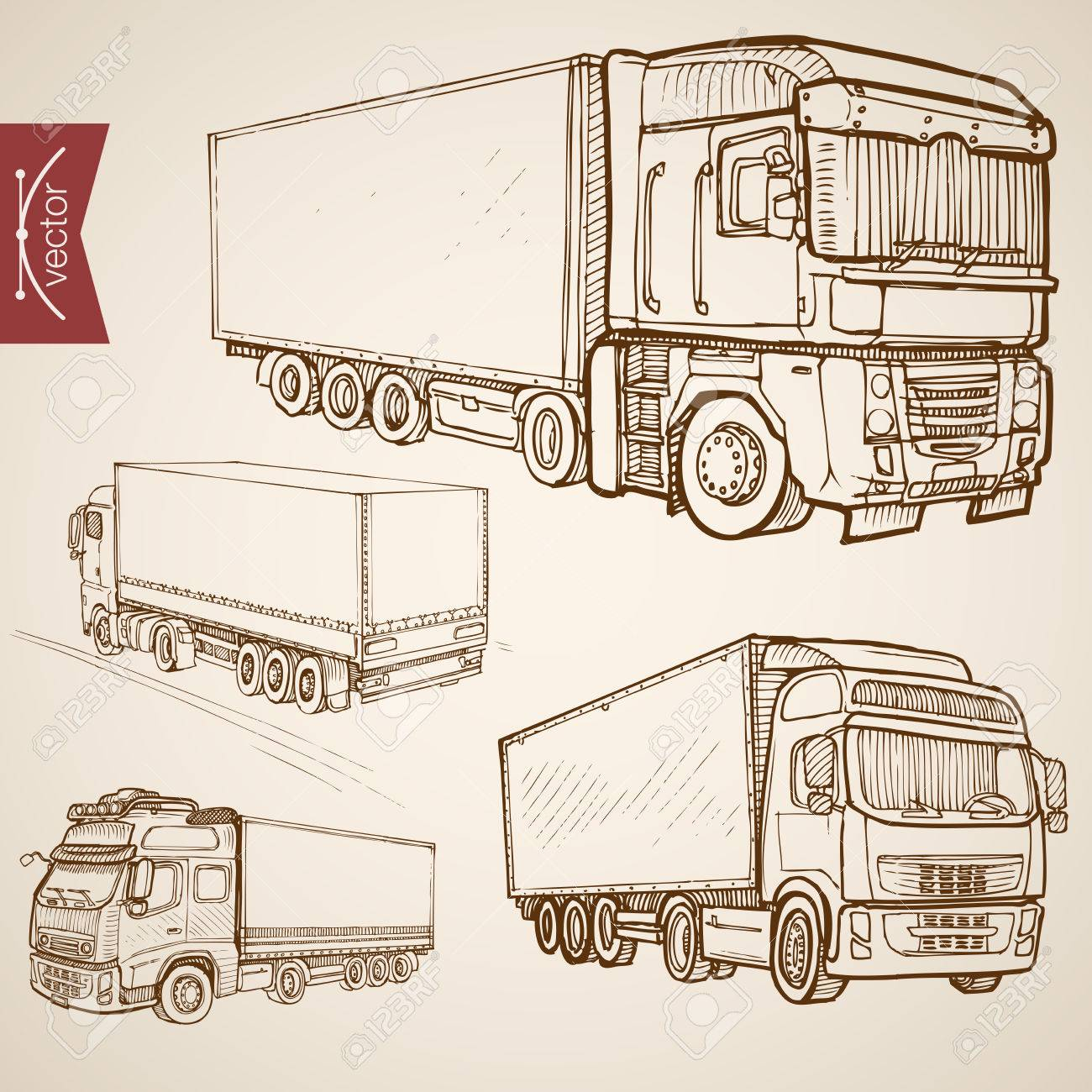 Engraving Vintage Hand Drawn Vector Delivery Transport Collection Royalty Free Cliparts Vectors And Stock Illustration Image 60587951