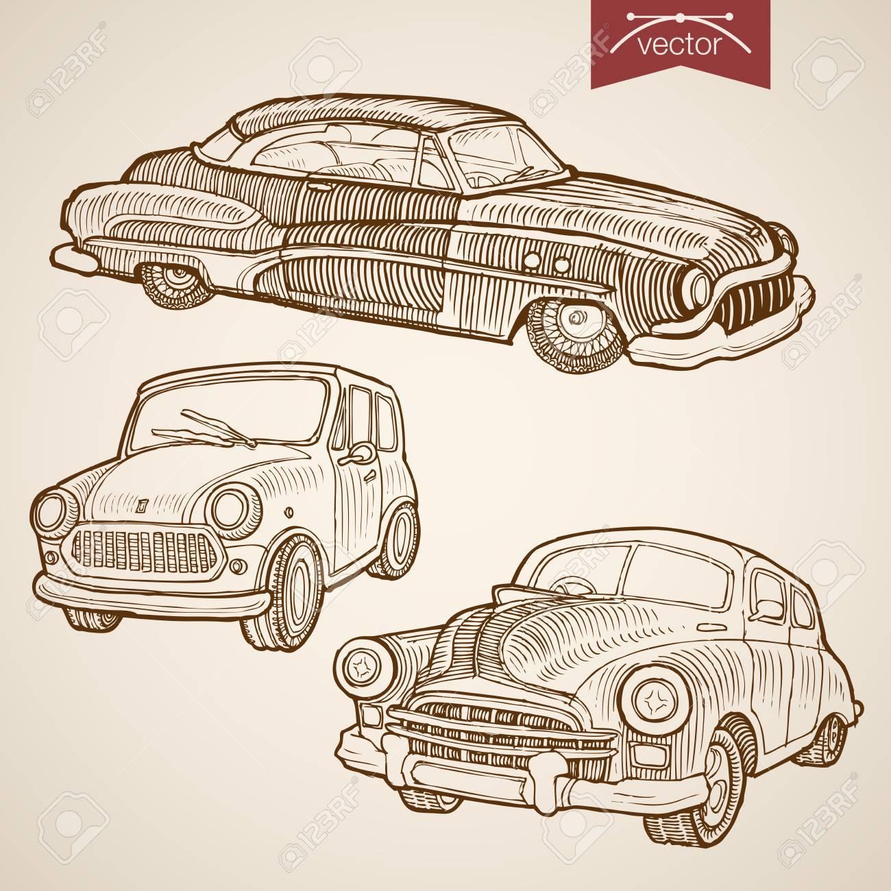 Engraving vintage hand drawn vector retro car collection. Pencil Sketch wheeled transport illustration. - 60587954