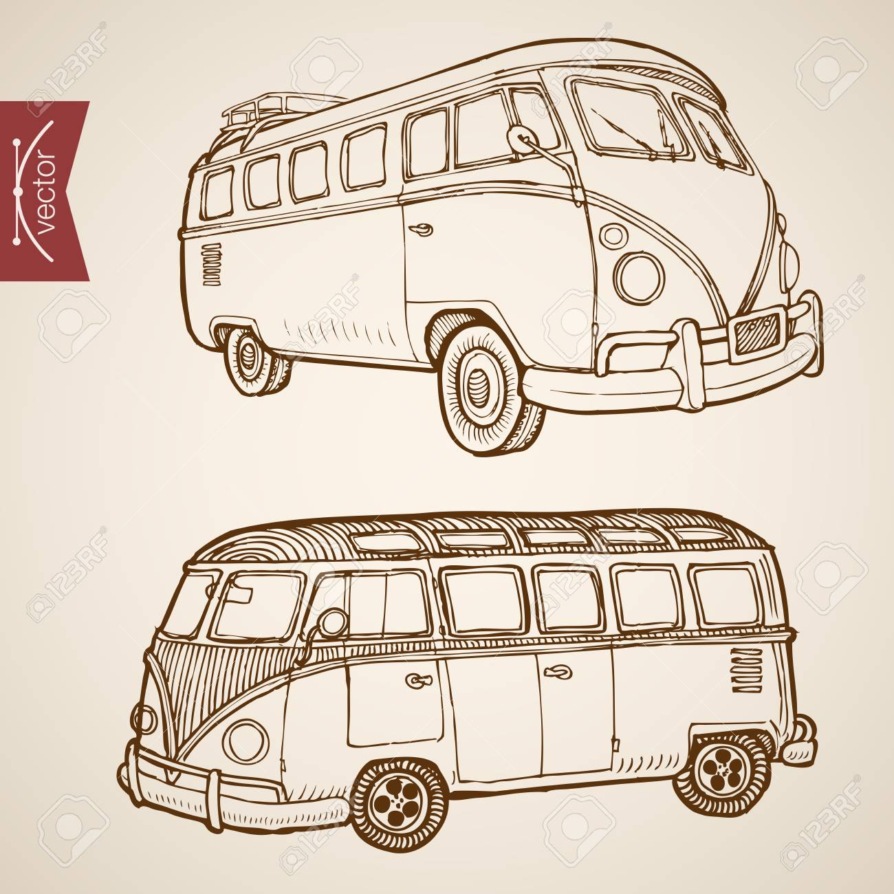 Engraving vintage hand drawn vector retro bus collection pencil