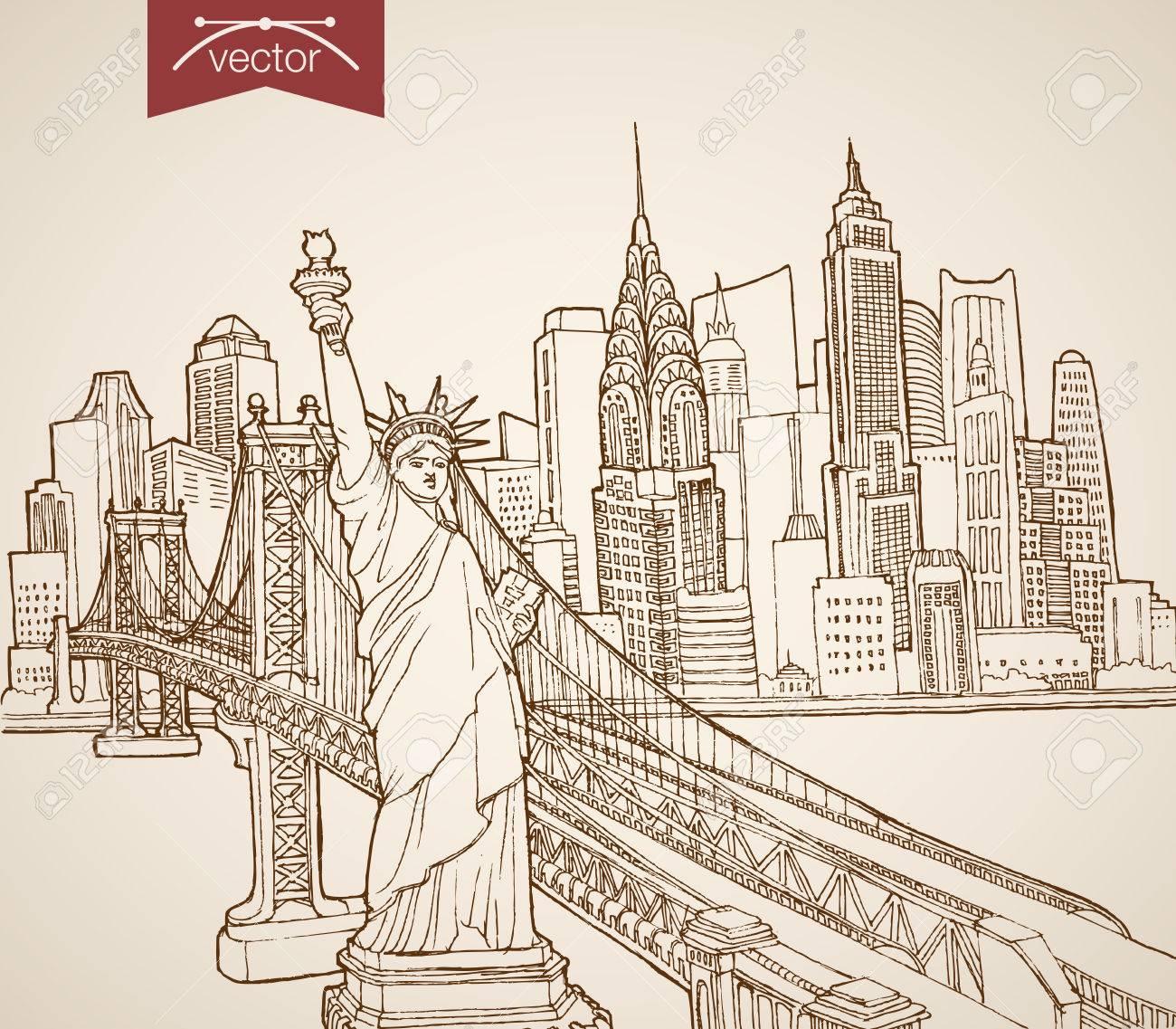 Gravure main vecteur vintage dessiné new york états unis voyage pencil sketch statue