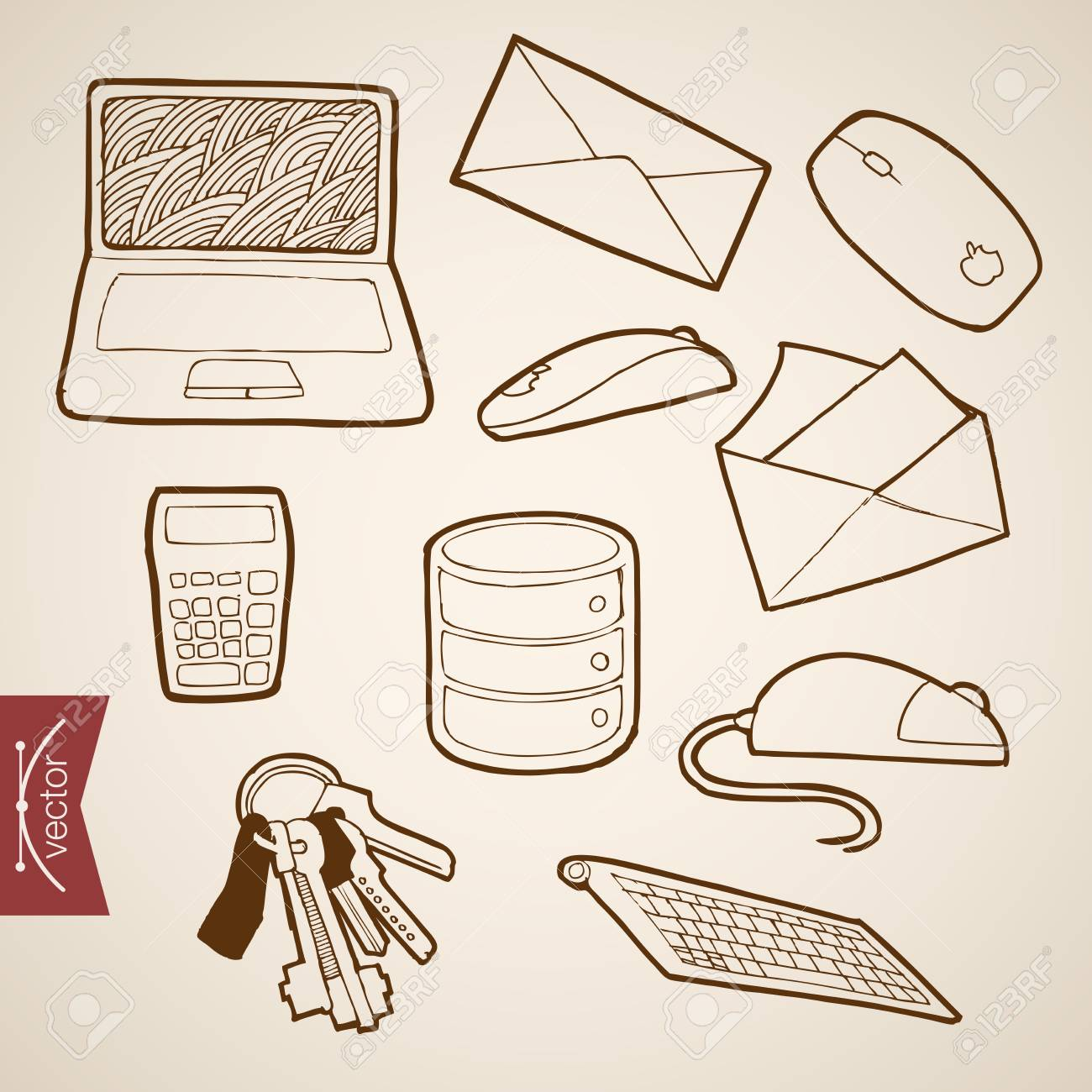 Pencil sketch office supplies illustration engraving vintage hand drawn vector working place laptop letter calculator mouse collection