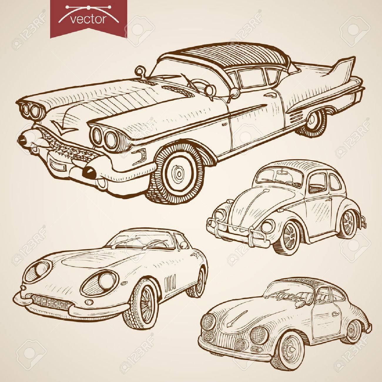 Engraving vintage hand drawn vector retro car collection. Pencil Sketch wheeled transport illustration. - 60587690