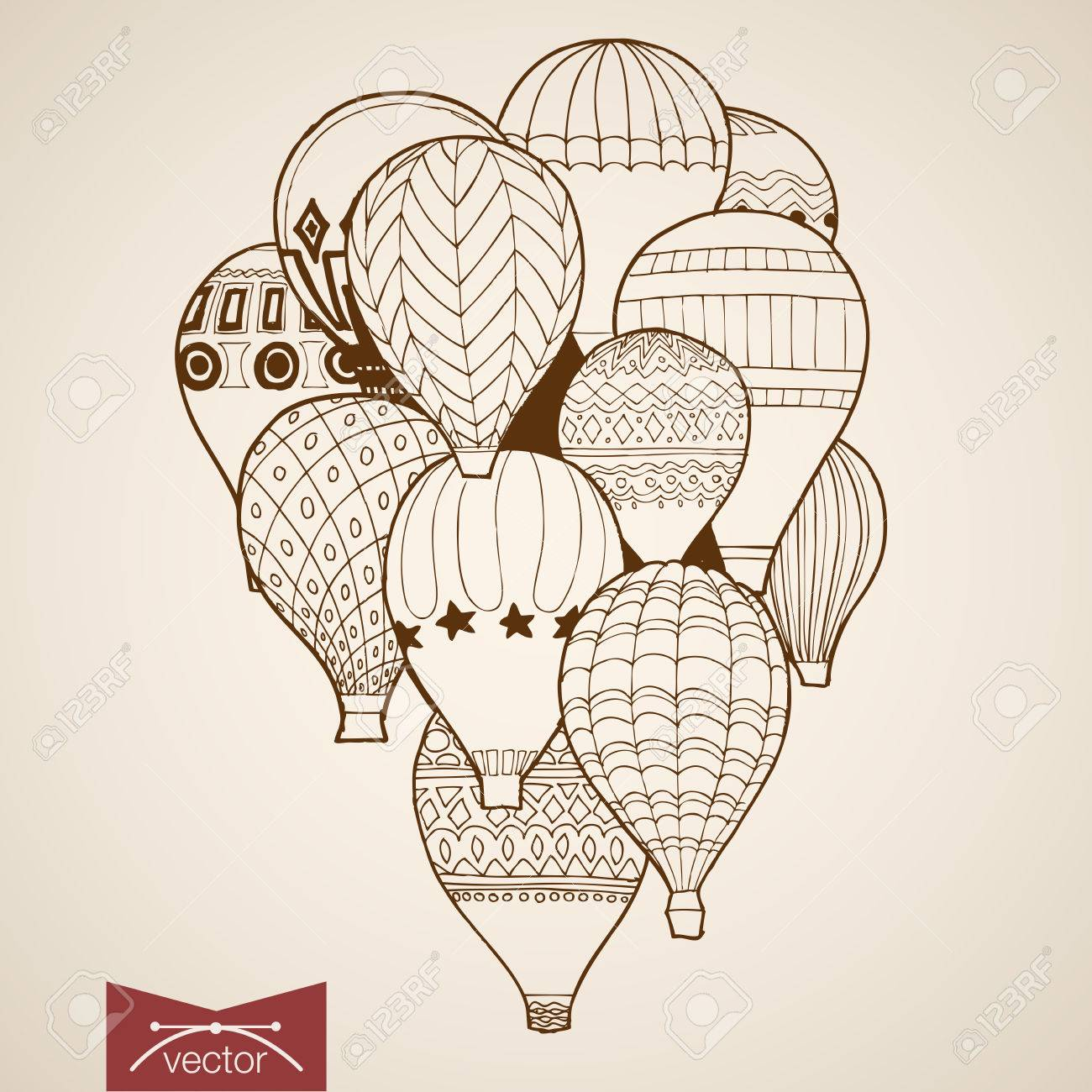 Engraving vintage hand drawn vector flying balloon pencil sketch illustration stock vector 61048295